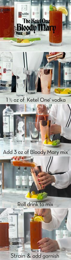 Here's the recipe for the Perfect Bloody Mary:     INGREDIENTS  1.5 oz. Ketel One Vodka  3 oz. Ketel One Bloody Mary Base*  METHOD  Roll drink to mix, strain and garnish with a lemon wedge, olives and  celery stalk.  *Bloody Mary Base:  1L Tomato juice  4 oz. Lemon juice  4 tsp. Salt  1 tsp. Black pepper  1 tsp. Smoked paprika  5 tbsp. Horseradish  3 Dashes Worcestershire sauce  7-10 Dashes hot sauce