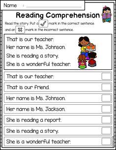 Comprehension Worksheets for Kindergarten Reading Prehension Passages Set 1 1st Grade Reading Worksheets, First Grade Reading Comprehension, Phonics Reading, Reading Comprehension Worksheets, Reading Passages, Kindergarten Reading, Kindergarten Worksheets, Printable Worksheets, Correct Sentence