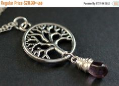 SUMMER SALE Silver Tree Necklace. Tree of Life Necklace. Wire Wrapped Purple Teardrop Necklace. Handmade Jewellery. by TheTeardropShop from The Teardrop Shop. Find it now at http://ift.tt/1pwcSLs!