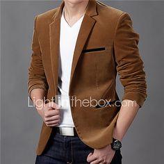 Hombre Diario Otoño   Invierno Tallas Grandes Regular Blazer 9d74a78dd980