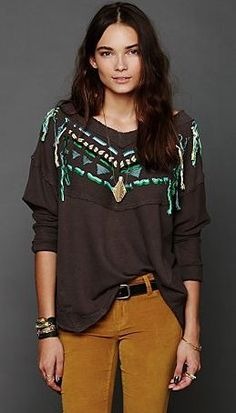 free people aztec oversized jumper