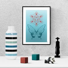 sacred geometry print, turquoise butterfly poster, zen wall art, digital download, printable home decor Butterfly Art, Butterflies, Frame It, Hanging Art, Sacred Geometry, Printable Wall Art, Art For Sale, Bees, Insects