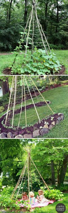Build a Bean Teepee for All Vining Vegetables and It is a Delightful Retreat for All Ages as Well garten, 19 Successful Ways to Building DIY Trellis for Veggies and Fruits Potager Bio, Potager Garden, Garden Planters, Diy Planters, Garden Container, Balcony Garden, Herb Garden, Diy Trellis, Garden Trellis