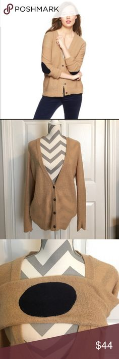 Gap Cardigan This tan cardigan had navy blue(looks like) elbow patches.  4 buttons in front.  Gently warm so great condition GAP Sweaters Cardigans