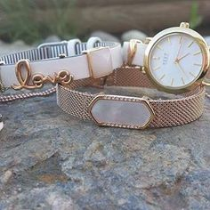 KEEP Collective - white/pinstripe leather band, rose gold mesh, mother of pearl geo bar, watch