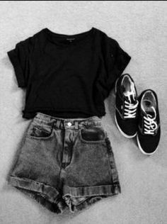 Simple Outfits For Teens, Casual School Outfits, Cute Comfy Outfits, Cute Summer Outfits, Edgy Outfits, Retro Outfits, Grunge Outfits, Cute Easy Outfits For School, Cute Clothes For Teens