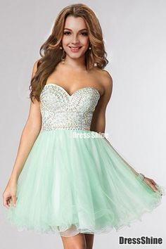 2015 Beaded Bodice Sweetheart Homecoming Dresses A Line Short/Mini Tulle - HomeComing Dresses - Homecoming | Cocktail | Party