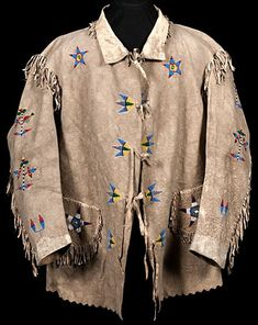 IMAGE: Front view of a Santee Sioux beaded hide jacket with a horse design