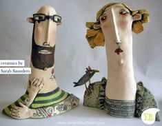 Ceramic heads by Sarah Saunders