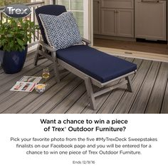 "There's only one day left until the #MyTrexDeck winner is crowned. Have you voted for your favorite deck yet? Check out the finalists on Facebook and ""like"" the image of your favorite deck to be entered for the chance to win a piece of Trex Outdoor Furniture. #sweepstakes"