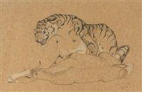 Orovida Camille Pissarro Tiger and horse, 1930