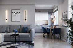 Szürke, tengerészkék és fa elegáns kombinációja 63m2-es, kétszobás, modern lakásban Modern, Conference Room, Couch, Interior Design, Table, Interiors, Furniture, Home Decor, Nest Design