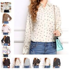 Hot Women Lip Print Chiffon Long Sleeve Button Down Shirt Collar Blouse Shirt #Unbranded #TShirt #Casual