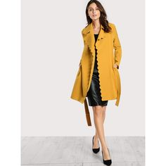 Scallop Trim Self Belt Coat (880 THB) ❤ liked on Polyvore featuring outerwear, coats, yellow, collar coat, coat with belt, wrap coat with belt, yellow coat and long coat