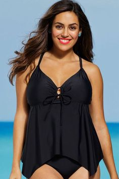 Plus Size BBW Full Figure Eclipse Handkerchief Tankini Swim Top 16, 18, 20, 22, 24
