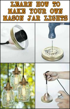 DIY Mason Jar Lights – Craft projects for every fan! Mason Jar Projects, Mason Jar Crafts, Mason Jar Diy, Diy Mason Jar Lights, Mason Jar Lighting, Mason Jar Chandelier, Diy Home Decor Projects, Diy Projects To Try, Diy Lampe