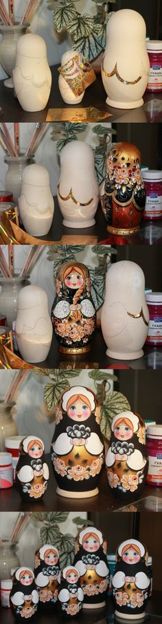 Creation process of russian nesting doll in black ang gold design, artist Nadezhda Tihonovich. Find more gorgeous matryoshka dolls at: www.bestrussiandolls.etsy.com