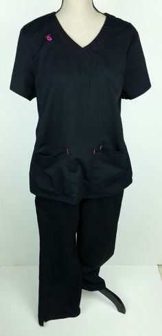 c09e99b97ca Scrub Star Women Large Medium Scrub Top Pants Solid Black 2 Piece Nurse  Medical #ScrubStar