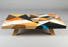 unique furniture design idea, coffee table decorated with graffiti