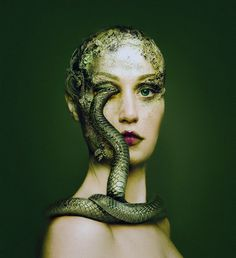 """In Greek mythology, Echidna, """"She-Viper"""", was half beautiful maiden and half fearsome snake. Hesiod described """"the goddess fierce Echidna"""" as a flesh eating """"monster, irresistible"""", who was like neither """"mortal men"""" nor """"the undying gods"""", but was """"half a nymph with glancing eyes and fair cheeks, and half again a huge snake, great and awful, with speckled skin"""", who """"dies not nor grows old all her days."""""""