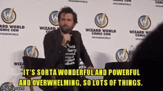 David Tennant being asked by a fan at Wizard Word NC about what he geeks over including being a part of Marvel,
