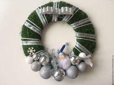 Венок новогодний из сизаля Дед Мороз - тёмно-зелёный,венок декоративный
