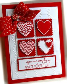 Me, My Stamps and I: Hearts a Flutter...this is such a sweet sentiment for a homemade card, and it's basically hearts and squares.