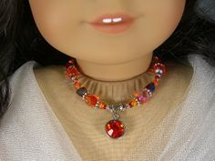 ORANGE and Silver with RED NECKLACE for American Girl Dolls Glass Beads for Caroline, Regency, Elizabeth