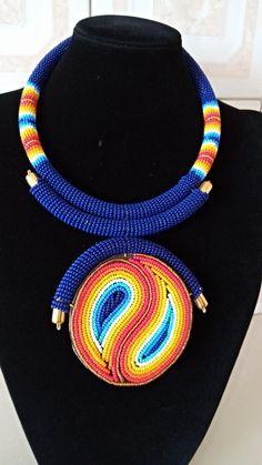 Chic Afrocenric Green black African Ankara bib Christmas necklace vintage bronze hardware