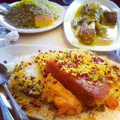 ته چین.شویدباقالی با ماهیچه..    Iranian food. Tah cheen, herb w/lima beans rice and lamb shank!  What say you?