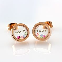 TOUS Gold Stud Earrings with Crystals Inside