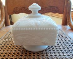 Vintage Westmoreland Milk Glass Vine and Grapes Covered Candy Dish Square Footed Dish Wedding Bridal Cottage Decor US Shipping Included by TremendousTreasures on Etsy