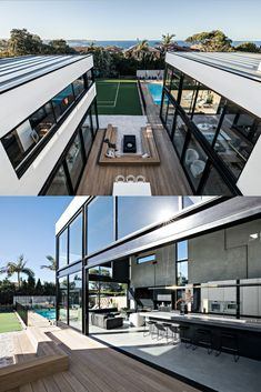 """Newly built home for Guy Sebastian - designed by Joe Snell. """"A modern look that blends the classic with the industrial"""". Modern Bungalow Exterior, Dream House Exterior, Guy Sebastian, High Ceiling Living Room, Backyard Studio, My Ideal Home, Roof Design, Dream Home Design, Modern House Plans"""