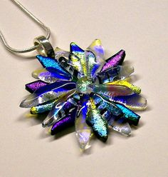 Fused Glass Dichroic Flower Pendant 003 by CDChilds on Etsy