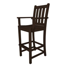 Shop POLYWOOD Slat Seat Recycled Plastic Patio Bar-Height Chair at Lowes.com