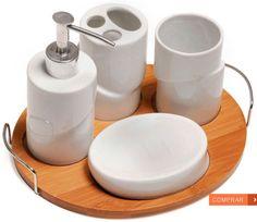 Conjunto para banheiro Seul 5 pçs. Com design elegante e moderno, o conjunto confeccionado em porcelana e base em bambu traz um porta escovas, um porta sabonete líquido, um copo e uma saboneteira. R$99,00