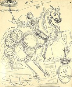 SALVADOR DALI SPANISH 1904-1989-  Angel on Horseback, ink drawing, 7.1 x 5.9 in (18 x 15 cm), signed lower right
