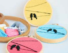 Birds On A Wire Embroidery Hoop