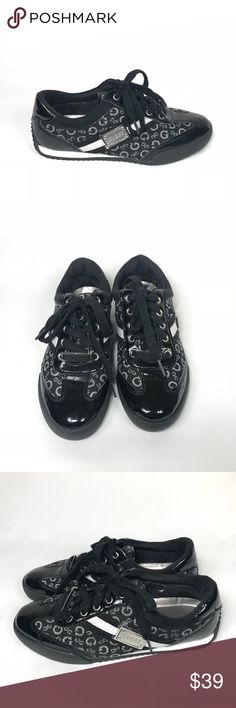 Guess Briar Black Metal Logo Pewter/Silver Shoe Guess Briar Black Metal Logo Tag Pewter And Silver sporty Cute Shoe Size 7  Like brand New Guess Shoes Athletic Shoes