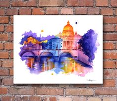 Rome Skyline Italy Watercolor Art Print Wall by 1GalleryAbove