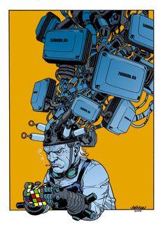Dave Johnson, Wanted pin up Cyberpunk Aesthetic, Arte Cyberpunk, Graphic Design Illustration, Graphic Art, Illustration Art, Sketch Inspiration, Character Design Inspiration, Futuristic Art, Robot Art