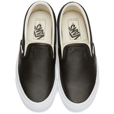 55dee8d0efc8be Vans Black OG Classic LX Slip-On Sneakers (€34) ❤ liked on Polyvore  featuring shoes