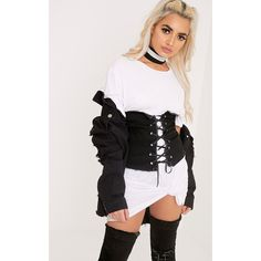 Addison Black Denim Lace Up Corset Belt ($18) ❤ liked on Polyvore featuring accessories, belts, black, distressed belt, lace up belt, wide corset belt, corset belt and denim belt