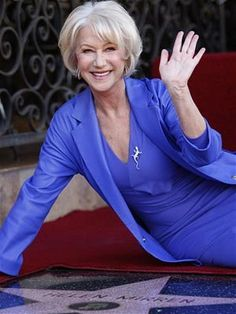 Helen Mirren. This blue blazer would look gorgeous on you!