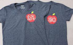 Monogrammed Apple Teacher Shirt by ProperlySouthernEtsy on Etsy