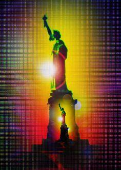 'Statue of Liberty Freiheitsstatue New York abstract 3' von Walter Zettl bei artflakes.com als Poster oder Kunstdruck $28.75