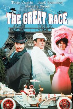 Blake Edward's 'The Great Race', 1965 - Professional daredevil & white-suited hero, 'The Great Leslie' (Tony Curtis) convinces turn-of-the-century auto makers that a race from New York to Paris (westward across America, the Bering Straight and Russia will help to promote automobile sales. Leslie's arch rival, the mustached & all black attired Professor Fate vows to beat Leslie to the finish line in a bizarre car invented by Fate.