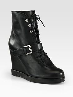 ae442443127 ShopStyle  Surface To Air Leather Buckle Wedge Ankle Boots
