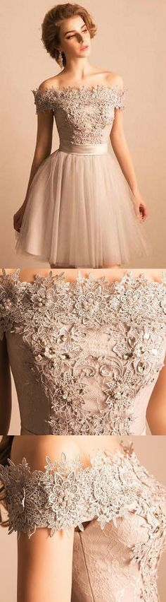 2018 Off-the-shoulder Lace Tulle Short Beaded Homecoming/Prom Dress,Graduation Party Dress WF01-384