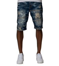 AKOO Denim short Zip and button closure All over camo print Rips tears Paint splatter Cotton for ult. Paint Splatter, Camo Print, Clothes Horse, Dark Blue, Denim Shorts, Closure, Popular, Zip, Button